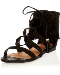 River Island | Black Fringed Lace-up Sandals | Lyst