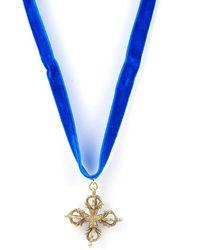 Vanessa Mooney Brass Cross Pendant Velvet Choker In Royal Blue - Lyst