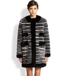 Marc Jacobs Striped Rex Rabbit Fur Coat - Lyst