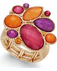 Style & Co. - Gold-tone Multicolor Bold Stone Ring - Lyst