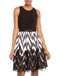 Eliza J Black & Ivory Chevron Fit & Flare Dress - Lyst