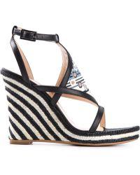Emilio Pucci Striped Wedge Sandals - Lyst