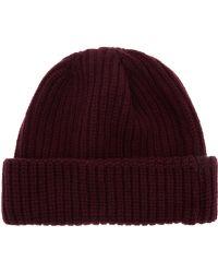 John Smedley - Burgundy Silt Chunky Rib Knit Cotton Beanie - Lyst