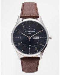 Ben Sherman Brown Leather Strap Watch Wb002Br - Lyst