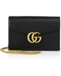 Gucci Gg Marmont Leather Chain-Strap Wallet black - Lyst
