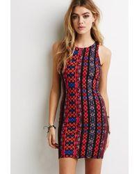 Forever 21 Tribal Print Bodycon Dress - Lyst