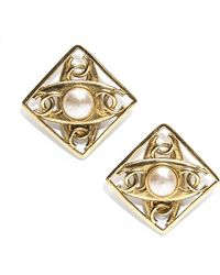 Chanel Preowned Faux Pearl Cc Large Clip On Earrings - Lyst