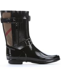 Burberry | Black Rubber And Check Canvas 'normandale' Rain Boots | Lyst