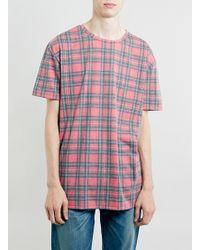 Topman Red Tartan Skater Fit Tshirt - Lyst