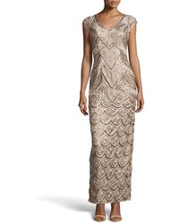 Sue Wong V-neck Floral Ribbon  Bead Embellished Dress - Lyst