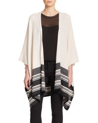 Vince Wool & Cashmere Striped Poncho beige - Lyst