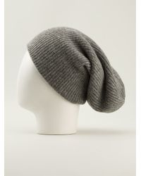 Helmut Lang Ribbed Knit Slouchy Beanie Hat - Lyst