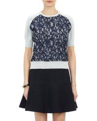 Carven Gingham & Lace Sweatshirt Sweater - Lyst