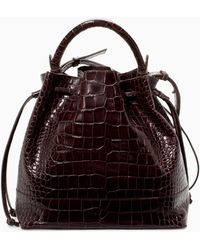 Zara Croc Leather Bucket Bag - Lyst