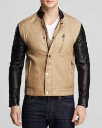 Kent And Curwen Leather And Linen Moto Jacket - Lyst