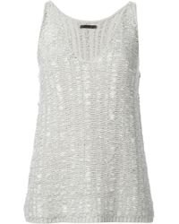 Donna Karan New York Knitted V-Neck Tank Top - Lyst
