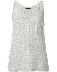 Donna Karan New York Knitted V-neck Tank Top - Lyst
