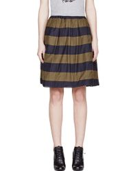 Burberry Prorsum Navy and Olive Striped Full Skirt - Lyst