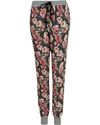 Markus Lupfer Pink Rose Print Tapered Cotton Sweatpants - Lyst