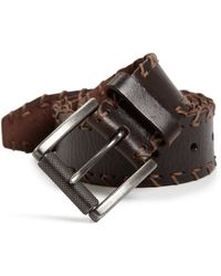 Leather Island By Bill Lavin - Cross-stitched Trim Leather Belt - Lyst