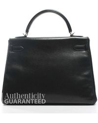 Hermès | Pre-owned Black Evergrain Kelly 32cm Bag | Lyst