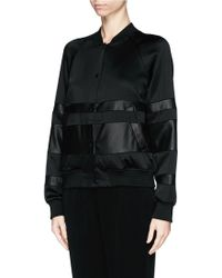 T By Alexander Wang Lamb Leather Stripe Bomber Jacket - Lyst