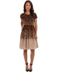 Badgley Mischka Scoop Neck Flare Skirt - Lyst