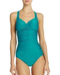 Badgley Mischka Shirred Surplice One Piece Swimsuit - Lyst
