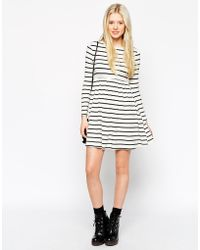 Asos Exclusive Babydoll Swing Dress In Stripe - Lyst