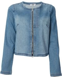 Sonia By Sonia Rykiel Collarless Denim Jacket - Lyst