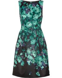 Lela Rose Floralprint Satin Dress - Lyst