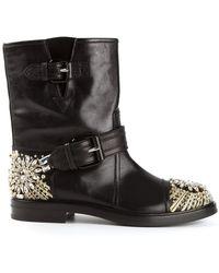 Casadei Crystal Embellished Biker Boots - Lyst