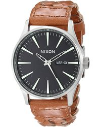 Nixon The Sentry Leather brown - Lyst