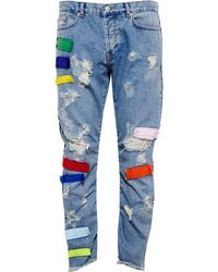 James Long - Distressed Patchwork Jeans - Lyst