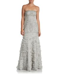 Sue Wong Strapless Beaded Trumpet Gown - Lyst