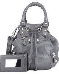 Balenciaga Arena Giant 12 Mini Pompon Bucket Bag gray - Lyst
