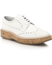 Prada Cork-Platform Leather Brogues - Lyst