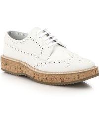 Prada Cork-Platform Leather Brogues white - Lyst