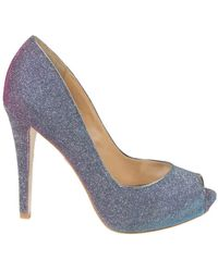Badgley Mischka Humbie Grey Plum Glitter Peeptoe Pumps - Lyst