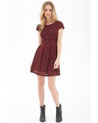 Forever 21 Crochet Lace Fit Flare Dress - Lyst