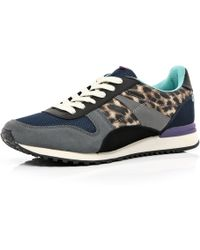 River Island Yellow Leopard Print Streamline Sneakers - Lyst