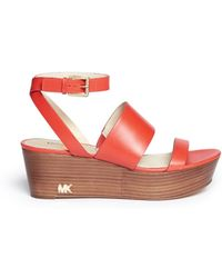 MICHAEL Michael Kors 'Poesy' Platform Wedge Leather Sandals - Lyst