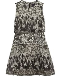 Notte By Marchesa Printed Silk-organza Mini Dress - Lyst