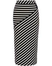 Karen Millen Striped Jacquard Jersey Midi Skirt black - Lyst