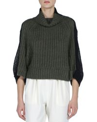 Fendi Colorblock Ribbed-Front Short Sweater green - Lyst