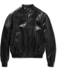 Jil Sander Caracas Leather Bomber Jacket - Lyst