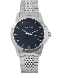 Gucci Men'S G-Timeless Black Dial Silver Tone Stainless Steel - Lyst