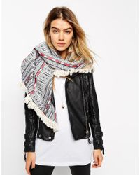 Asos Oversized Triangle Scarf In Geo-Tribal With Fringing gray - Lyst