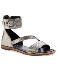 Trouvé 'Dara' Metallic Leather Ankle Strap Sandal silver - Lyst