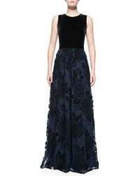 Aidan Mattox Sleeveless Gown W Flocked Point Desprit Skirt - Lyst